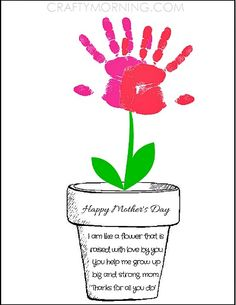 Printable Poem Flower Pot for Mother& Day - Kids can syamp their handprints to make flowers! Crafty Morning Printable Poem Flower Pot for Mothers Day - Kids can syamp their handprints to make flowers! Easy Mother's Day Crafts, Mothers Day Crafts For Kids, Fathers Day Crafts, Mothers Day Cards, Mothers Day Poems Preschool, Poems For Mothers Day, Mothers Day Gifts Toddlers, Crafts Cheap, Daycare Crafts