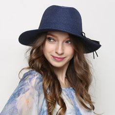 Bow wide brim panama hat for women summer straw sun hats package