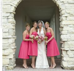 I love the shade of pink, and the length of these bridesmaids dresses.