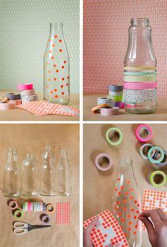 Spotty / washi tape glass jars