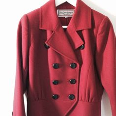 """⏬LOWEST! HP Vintage! YSL beautiful Jacket This is beautiful vintage jacket from Yves Saint Laurent. Wool 100% , fully lined. Double blazer, padded shoulder. Black round buttons. Beautiful brick red color. In great shaped, no major concern found. In size M, best fits US 4. Shoulder14"""", bust18.5"""", waist15.5"""", length24"""". Need to find good owner who loves fashion and vintage clothes. It is really great quality and beautifully made.LOWEST PRICE, NO OFFER WOULD BE ACCEPTED, thanks Yves Saint…"""