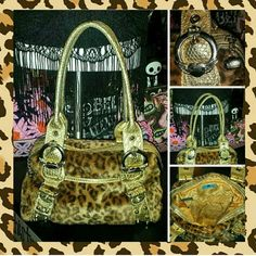 KATHY VAN ZEELAND leopard fur gold POSH GLAM purse PURRRRRRR-FECTY COOL & CHIC auth KATHY VAN ZEELAND designer purse...created in LEOPARD FAUX FUR...METAL STUD ACCENTS & METALLIC GOLD SNAKESKIN trims...its  a SMALL/MED size & still in VERY NICE CONDITION with very lil signs of wear! KATHY VAN ZEELAND Bags