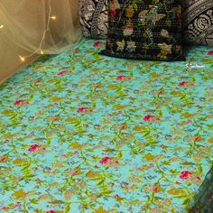 """Turquoise Paradise Quilt This Beautiful Kantha Bedspread is made with cotton and natural vegetable colors. These Kantha Quilt are made by our craftsman in India. The stitches over it is called """"Kantha sticth"""". Boho Bedding, Bedspread, Kantha Quilt, Quilts, Cheap Room Decor, Bohemian Style Bedrooms, Kantha Stitch, King Queen, Textile Art"""
