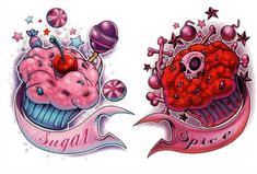 Sugar & Spice: Secret Lake Tattoos Custom Sugar Skull And Cupcakes