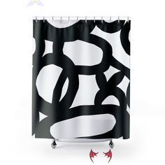 Minimalist Long Shower Curtain Black and White Bathroom | Etsy <br> Enjoy your shower routine with this long black and white geometric design shower curtain • Great as a focal point to your bathroom • Will top up and Mid-century or minimalist bathroom decor Our shower curtains are custom Printed just for you • Extremely strong and durable synthetic fabric • Retains its shape • Dries quickly • Unique Bathroom Décor • Printed and shipped from the USA • 12 Buttonholes for hook placements •…