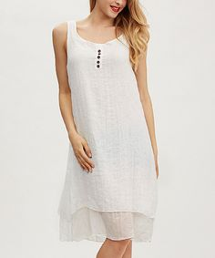 Simply Couture White Button-Accent Layered Dress | zulily