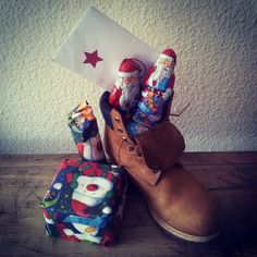 Forget the stockings, in some parts of the world Santa Claus fills your SHOES with cookies and candy. #feastofstnicholas #timberland