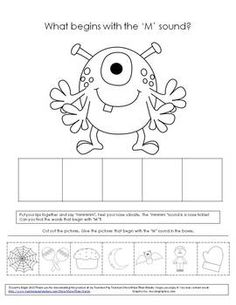 FREE Practice isolation and phonological awareness of initial 'M' with this freebie!  Great for Halloween, or anytime for use in literacy Centers, Rti practice, or speech therapy.  For much, much more monster fun, check out my other monster activities:   Monsters Munch! Speech Therapy Articulation and Grammar Story, Monsters Munch! Speech Therapy Prepositions and  Game  Monsters Munch! Speech and Language Activities. By a Speech Language Pathologist at More Than Words TPT store.