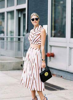 striped two piece dress