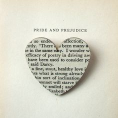 Pride and Prejudice  Heart brooch Classic book by houseofismay, £8.00 idea for shadow box art