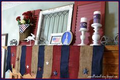Corner of Plaid and Paisley: 4th of July Mantel