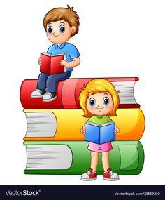Happy school children with big books vector image on VectorStock Kids Background, Poster Background Design, Cartoon Background, Art Drawings For Kids, Art For Kids, Kids Graphics, School Frame, School Murals, School Painting