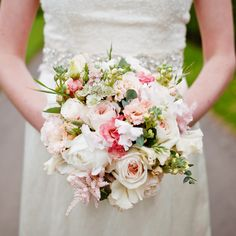 Blush pink and cream Bridal bouquet. Sweet peas, Peonies, David Austin Roses, Stocks and scented herbs. Designed and created by www.hannahberryflowers.co.uk   Photo credit http://www.kitmyersphotography.co.uk