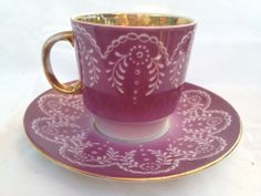 .. teacup & saucer set - demi cup and saucer in pretty purple pattern