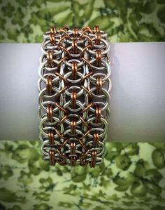 Silver and Bronze Wide Helm Chainmaille Bracelet  by DaisiesChain, $42.00