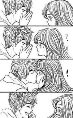 A Secret Surprise Kiss | Couples Drawings