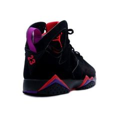 Nike Air Jordan 7 Retro Black Purple Red ❤ liked on Polyvore featuring shoes, sneakers and jordans