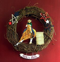 Barrel Racing Wreath by artbysonny on Etsy
