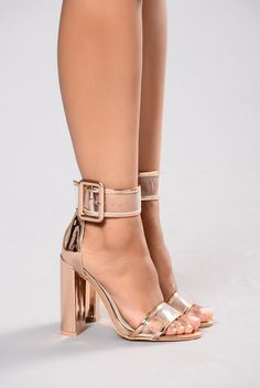Available in Rose Gold & Denim Single Sole Heel Large Adjustable Buckle PVC Contrast Straps Stacked Heel Patent Leather Upper, Man Made Sole 4 Inch Heel Killer Heels, High Heel Boots, Shoe Boots, High Heels, Blush Shoes, Baskets, Prom Heels, Gold Heels, Stiletto Heels