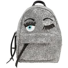 Chiara Ferragni Women Flirting Eyes Glitter Mini Backpack featuring polyvore, women's fashion, bags, backpacks, silver, white leather backpack, white backpack, chiara ferragni, glitter backpack and white leather bag