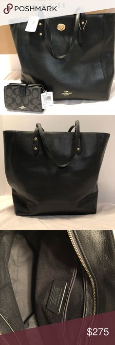 NWT Coach Black Leather Town Tote & Wallet Set Brand new authentic Coach pebble leather town toast in black. Comes with matching signature logo medium corner zip wallet in black. Great neutral color to use all year round! Easily fits a laptop with room for more.   Comes from a pet and smoke free home. Thanks for checking out my listing, check out my closet for more! Coach Bags Totes
