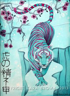 watercolor tiger tattoo - Tiger and Cherry Blossom watercolor painting Asian Chinese Japanese tattoo style poster art print in red and teal by Cara Brown Tiger Drawing, Tiger Painting, Watercolor Paintings, Watercolor Tiger, Watercolour, Japanese Theme, Japanese Art, Japanese Painting, Japanese Blossom