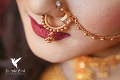 Sangeet Nose Ring Jewelry, Gold Rings Jewelry, Golden Jewelry, Bridal Jewelry, Nose Rings, Nose Ring Designs, Indian Nose Ring, Bridal Nose Ring, Indian Accessories