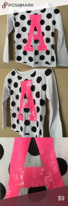 JUSTICE Girls Letter A  Polka Dot Sequin Size 8 10 Buyer gets this Awesome Pre-Owned Girls JUSTICE white with black polka dots and Pink Sequins A long Sleeve Shirt.  — SIZE 8 10 — Fantastic Condition No Holes Tears or Stains. Daughter has outgrown Justice Shirts & Tops Tees - Long Sleeve