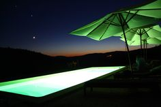 Chilling by the pool on a starry night