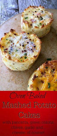 Baked Mashed Potato Cakes look fancy and taste amazing! Delicious for any traditional meat-and-potatoes menu, but excellent by themselves or made ahead to pack into lunches or serve at breakfast.