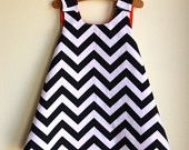 black and white chevron pinafore dress - reversible any color - handmade by noah and lilah