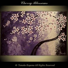 "Original Impasto Acrylic Modern Abstract Art  Painting on  Gallery wrapped Canvas 36"" x 24"", Home Decor, -Japanese Cherry Blossoms- on Etsy, $199.00"
