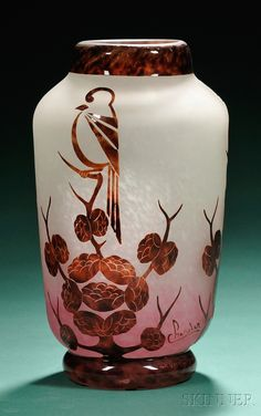 Art Deco Charder Le Verre Francais Glass Vase  Cameo glass  France, c. 1925  Cameo-decorated with birds on a flowering bush in mottled brown cut to shaded white to red ground.