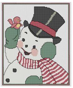 free Christmas cross stitch Snowman with bird