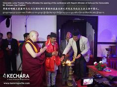 Venerable Lama Thubten Phurbu officiates the opening of the conference with Nepal's Minister of Defence the Honourable Mr. Bhimsen Das Pradhan.