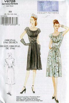 FREE US SHIP Vogue 8728 Retro 1940's 1946 by LanetzLivingPatterns