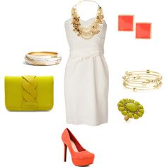 outfit: white strapless minidress, gold chunky necklace, coral square studs, silver / gold bangles, gold beaded bangles, lime-green thick plait clutch, gold / lime-green flower ring, coral velvet platform heels