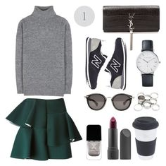 """""""▷▷Grey sweater/forest green skirt"""" by veronikajorjobert ❤ liked on Polyvore featuring Balenciaga, Marni, New Balance, Bite, Yves Saint Laurent, Missguided, Moncler and modern"""