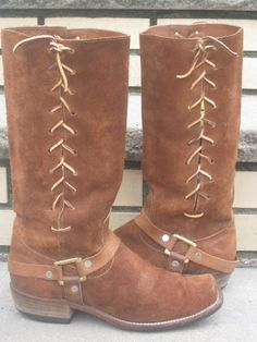 Vintage 70's Motorcycle Leather Suede Corset Boots by midtownmommy, $184.00