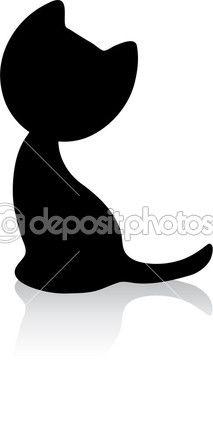 Милый маленький котенок силуэт с тенью — Векторная картинка #6924197