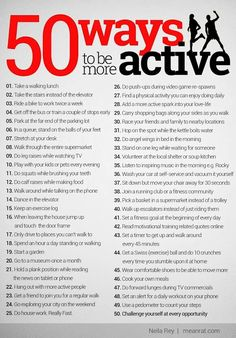 50 Ways to be more active weight loss motivation gifts Fitness Herausforderungen, Fitness Motivation, Sport Fitness, Health Fitness, Motivation Quotes, Diet Quotes, Personal Fitness, Exercise Motivation, Fitness Goals
