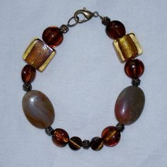 Glass & agate fall colors beaded bracelet by Hrtsmom on Etsy
