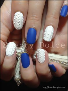 Knit pattern nail art.