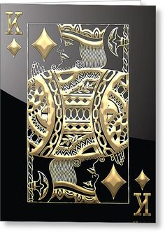 King Of Diamonds Playing Card Digital Art - King Of Diamonds In Gold On Black by Serge Averbukh