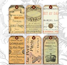 Paris Gift Tags Digital Collage Sheet Download Ephemera Printable Images INSTANT DOWNLOAD No.298