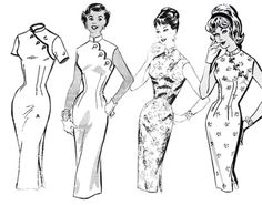 Left to Right: American Weekly Mail Order LeRoy Mail Order 8312 Vintage Dress Patterns, Clothing Patterns, Vintage Dresses, Chinese Clothing, Chinese Dresses, Stitch Witchery, Fashion Illustration Vintage, Dress Drawing, Cheongsam Dress