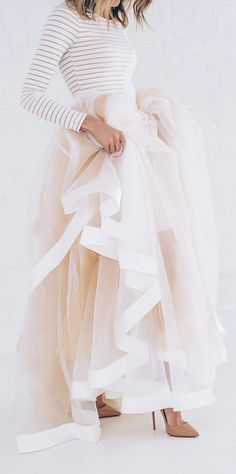 Latest fashion trends: Women's fashion | Cream heels, striped top and pastel long tulle skirt