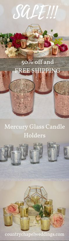 Get gorgeous mercury glass candle holders for off and F… – Wedding Centerpieces Spring Wedding Decorations, Candle Wedding Centerpieces, Chapel Wedding, Dream Wedding, Mercury Glass Candle Holders, Geometric Decor, Deco Mesh Wreaths, Copper Blush, Candles