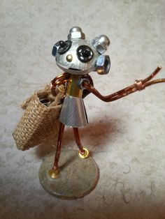 Bit, Tiny Robot Sculpture, shopping girl hand made from found items by Tinktopia on Etsy