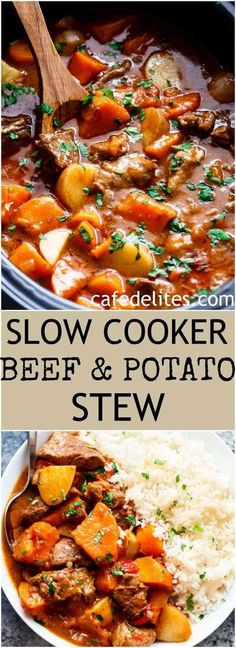 Slow Cooker Beef & Sweet Potato Stew is easy to throw together and filled with fall apart, tender be Crock Pot Recipes, Meat Recipes, Slow Cooker Recipes, Cooking Recipes, Healthy Recipes, Beef Pieces Recipes, Slow Cook Beef Recipes, Crockpot Sweet Potato Recipes, Stewing Beef Recipes